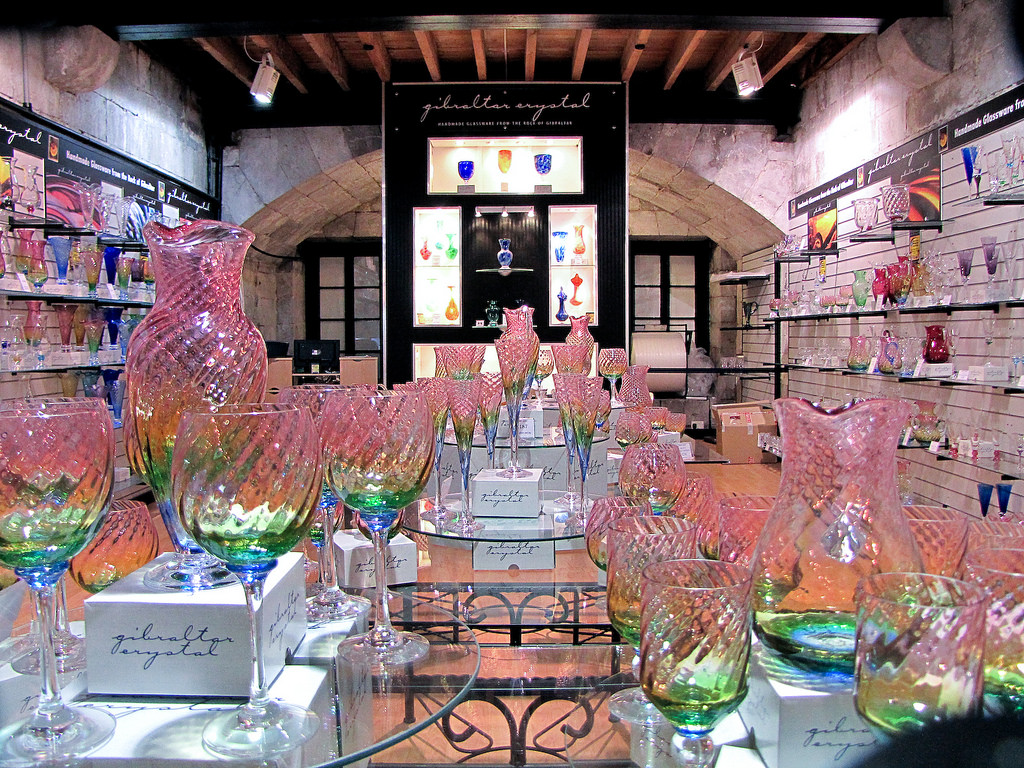 Gibraltar Crystal - Classy hand-blown glass - as supplied to the Royal Yacht Brittania and Selfridges - is a Gibraltar speciality. Watch the glassblowers at work in the foundry and order a custom piece.