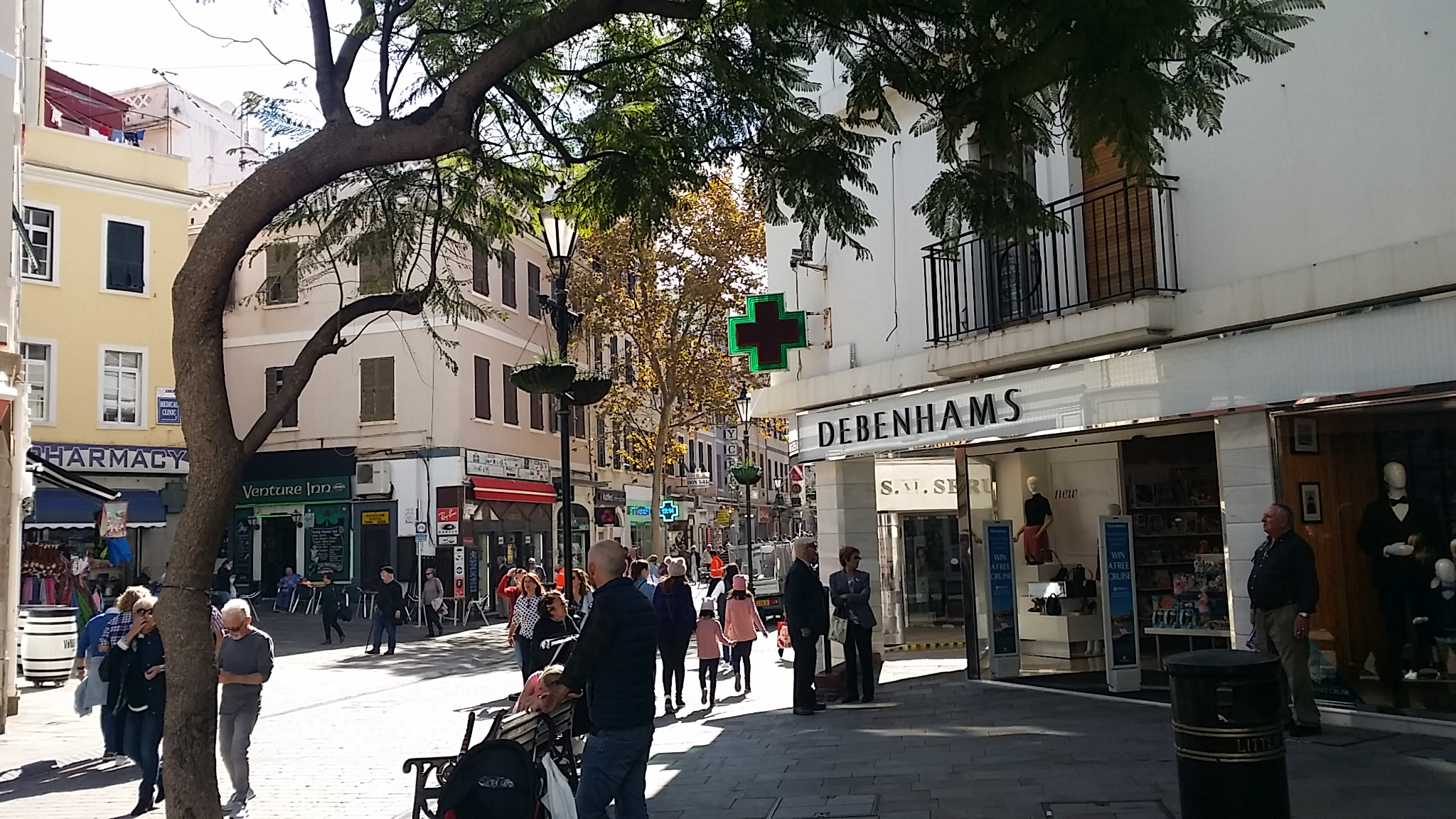 Main Street starts with Debenhams - the ATM is just over the road