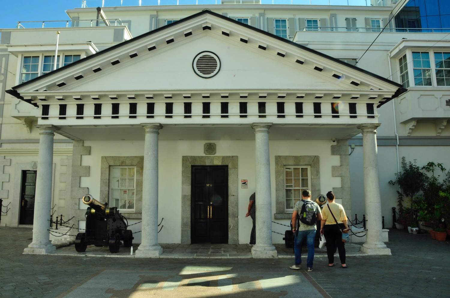 No. 6 - Gibraltar's 10 Downing Street where the Chief Minister spends his working day, guarded by gleaming cannons. A photo stop is de rigeur.