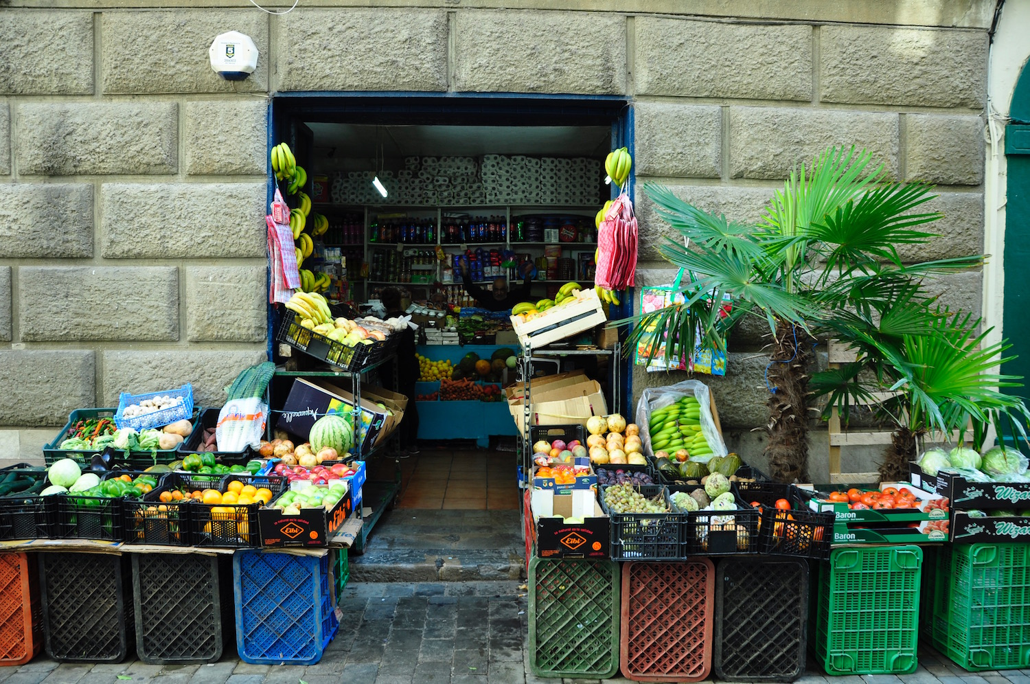 One of Gibraltar's rare greengrocers can be found in Irish Town