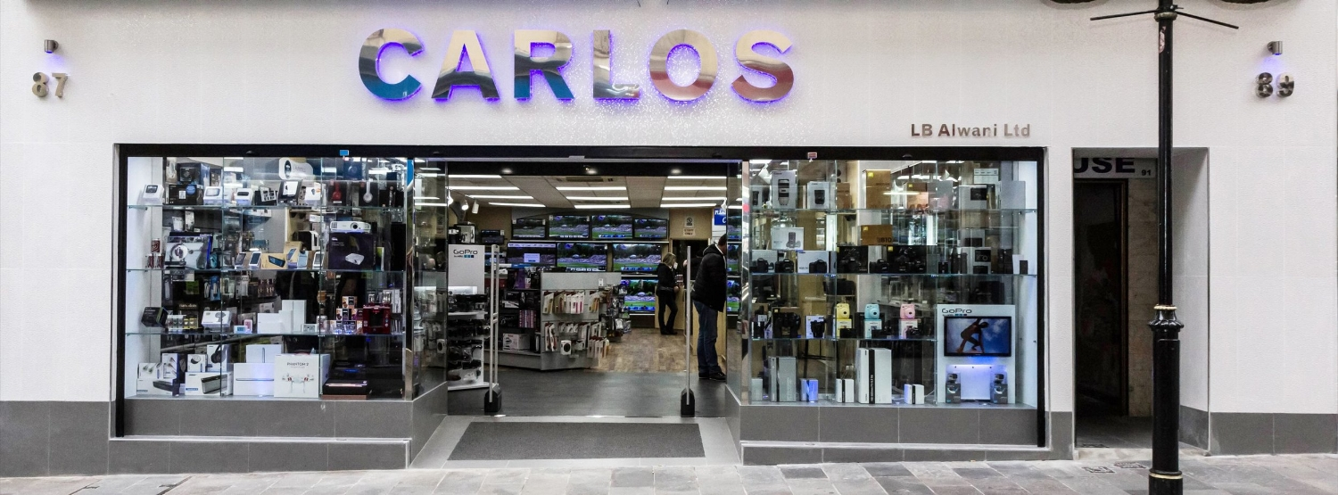 Carlos Electronics - Trading cameras in Main Street since the days of the Box Brownie, today the focus has widened to drone cameras and GoPros, smartphones, Segway scooters and a wider stock of accessories than many British retailers.