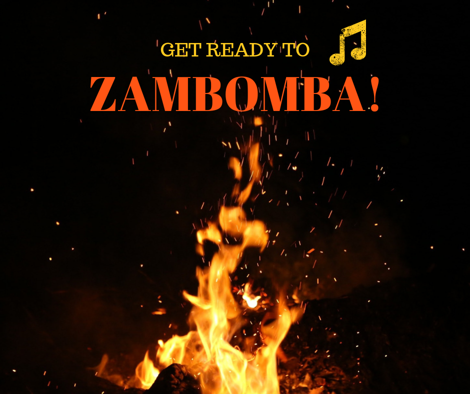 A zambomba is chestnuts roasting round an open hearth with knobs on