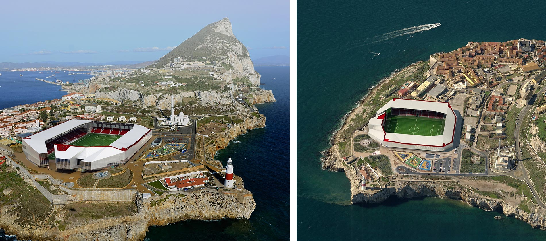 Rockin' views of Morocco - aeriel view of planned Europa Point Stadium