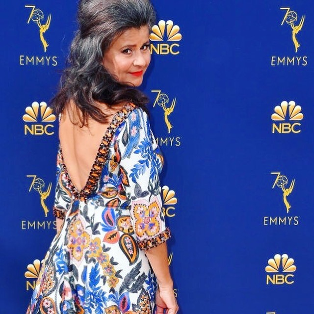 Tracey Ullman in her bespoke dress at the 2018 Emmy Awards