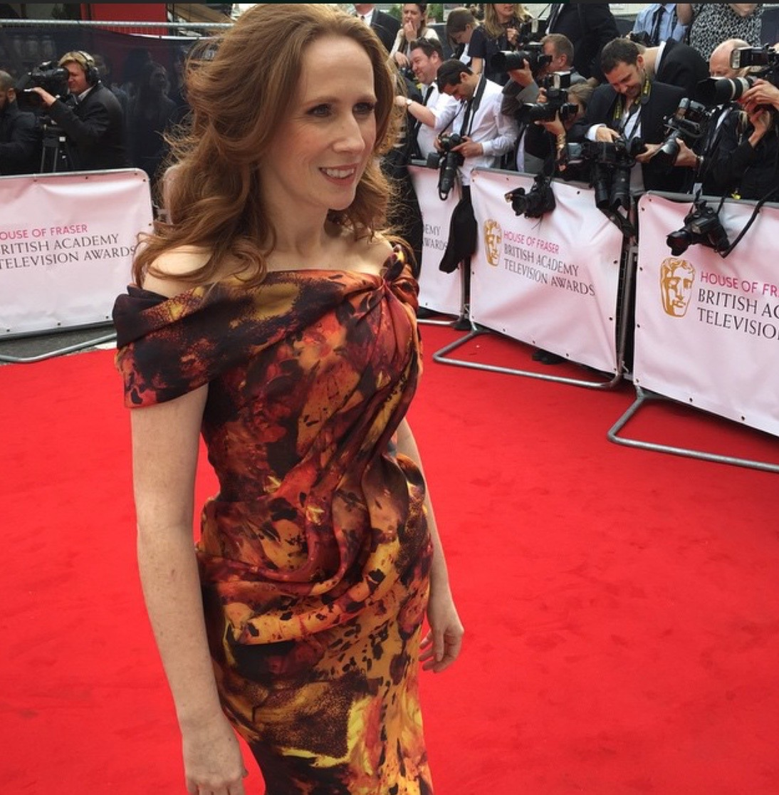 Catherine Tate wearing a bespoke dress at the 2015 BAFTA Awards