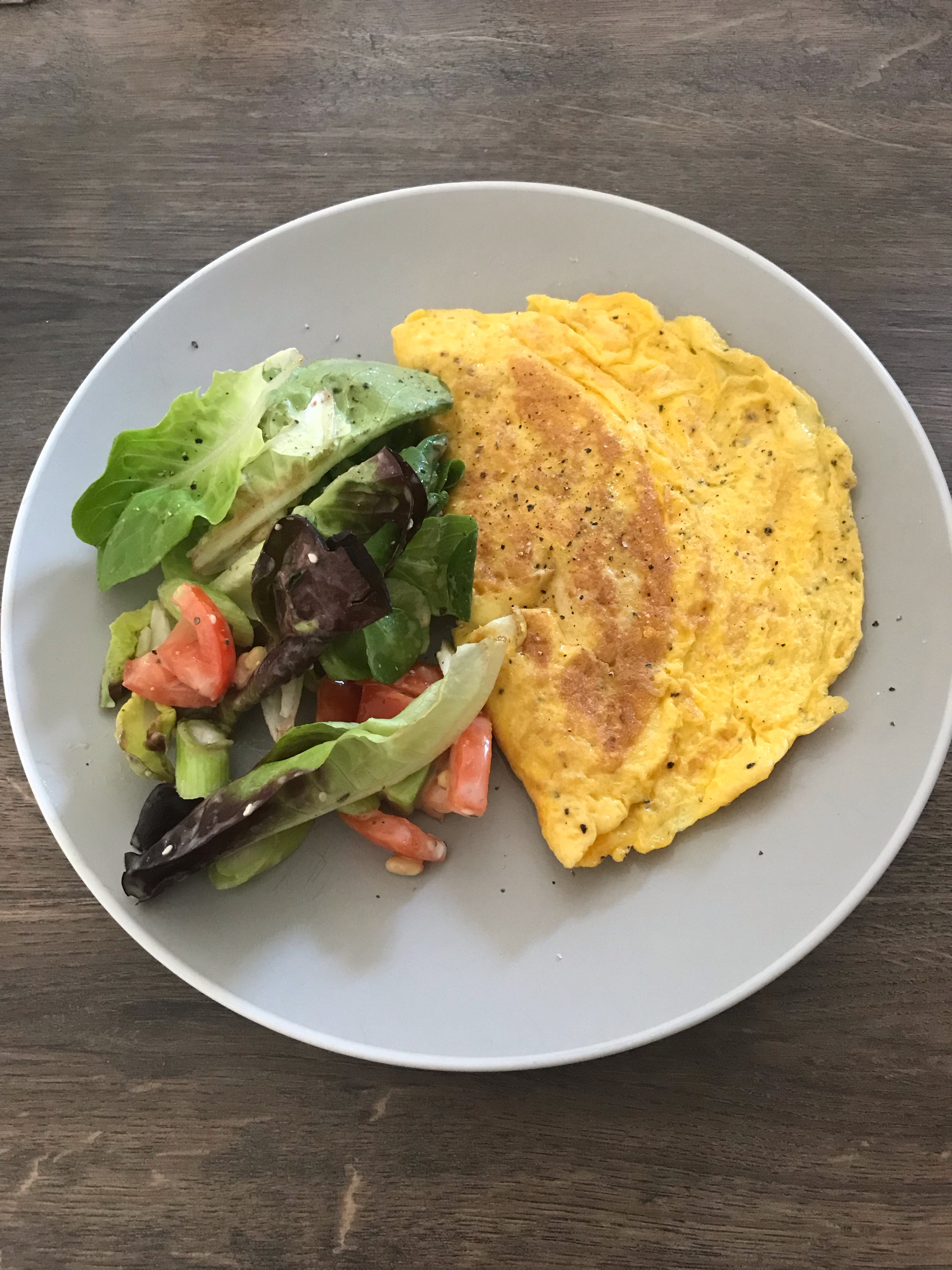Omelette and salad is both light, quick and easy.