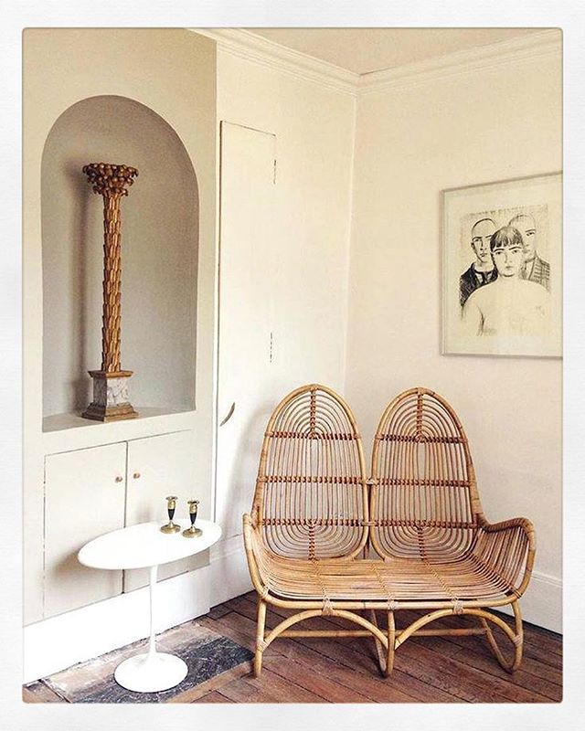 Get a little 💕[seat] in your life.  Though I'd love to tell you more about the chair, reverse image search simply reveals 1000 #pintrest tags for #rattan and #boho or sponsored content for #acapulcochair. None of which is particularly useful.