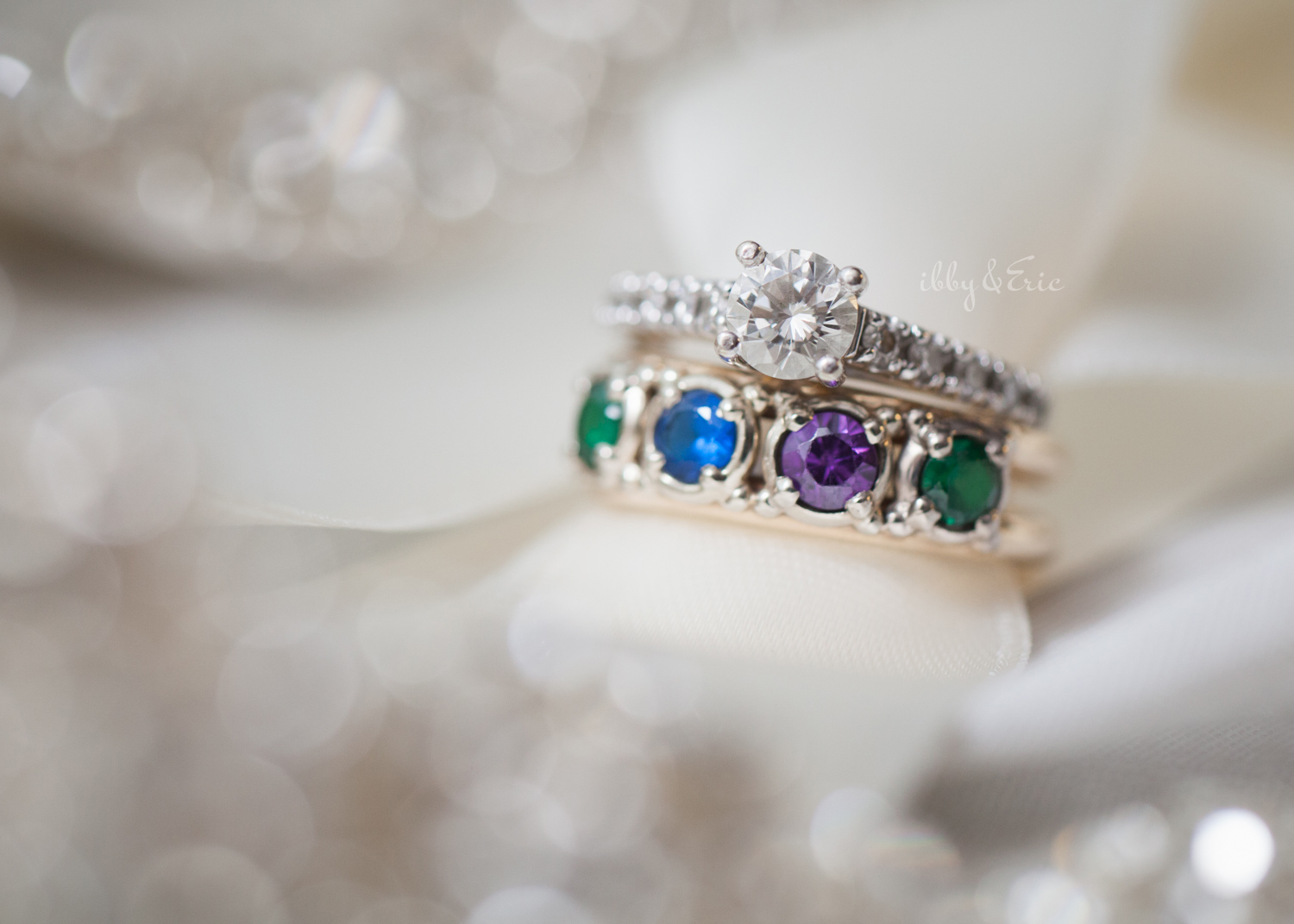 Diamond engagement ring and multi color gemstone ring.
