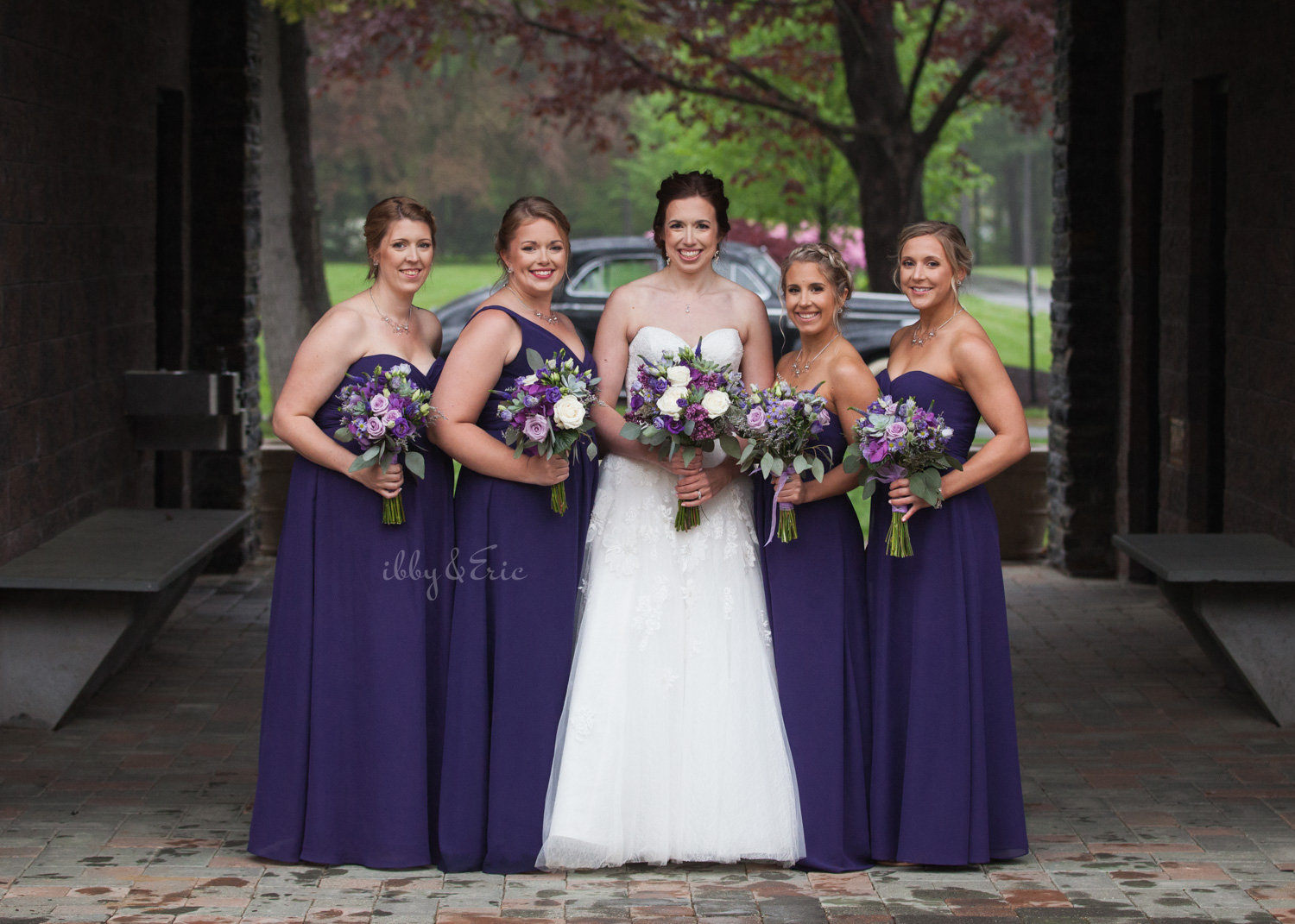 Bride in strapless lace wedding dress with her four best friends wearing purple bridesmaids dresses.