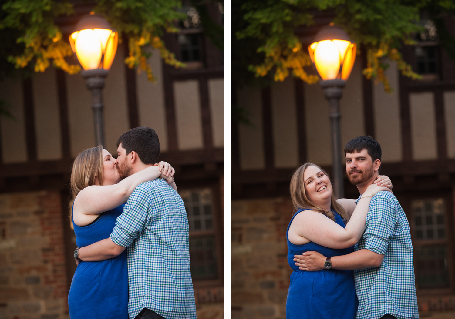 Happy couple wearing blue kisses and laughs in front of a lamp post at Higgins House in Worcester, MA.