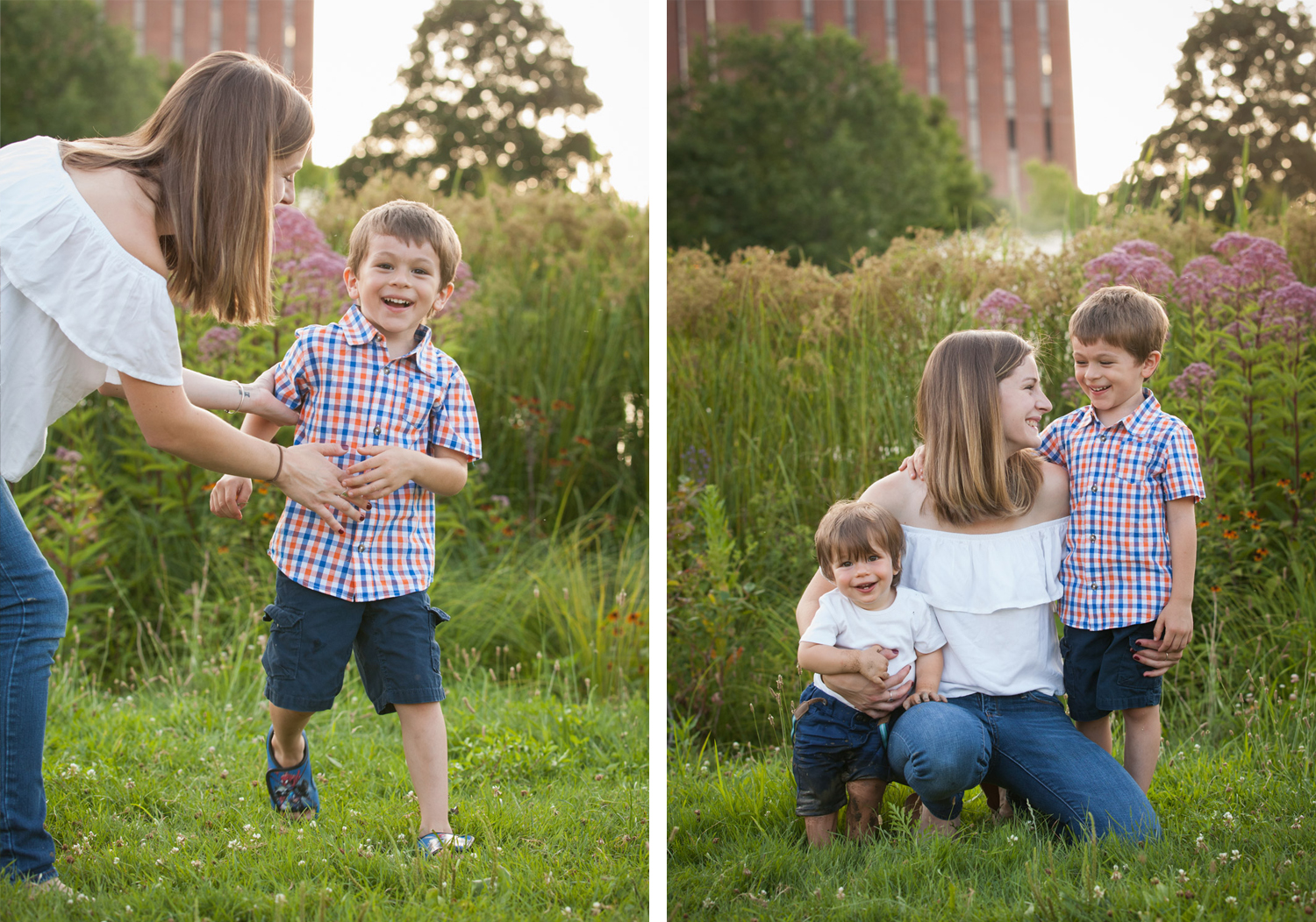 Two photos of a young mom smiling at her two sons, one wearing a plaid shirt and the toddler wearing white.