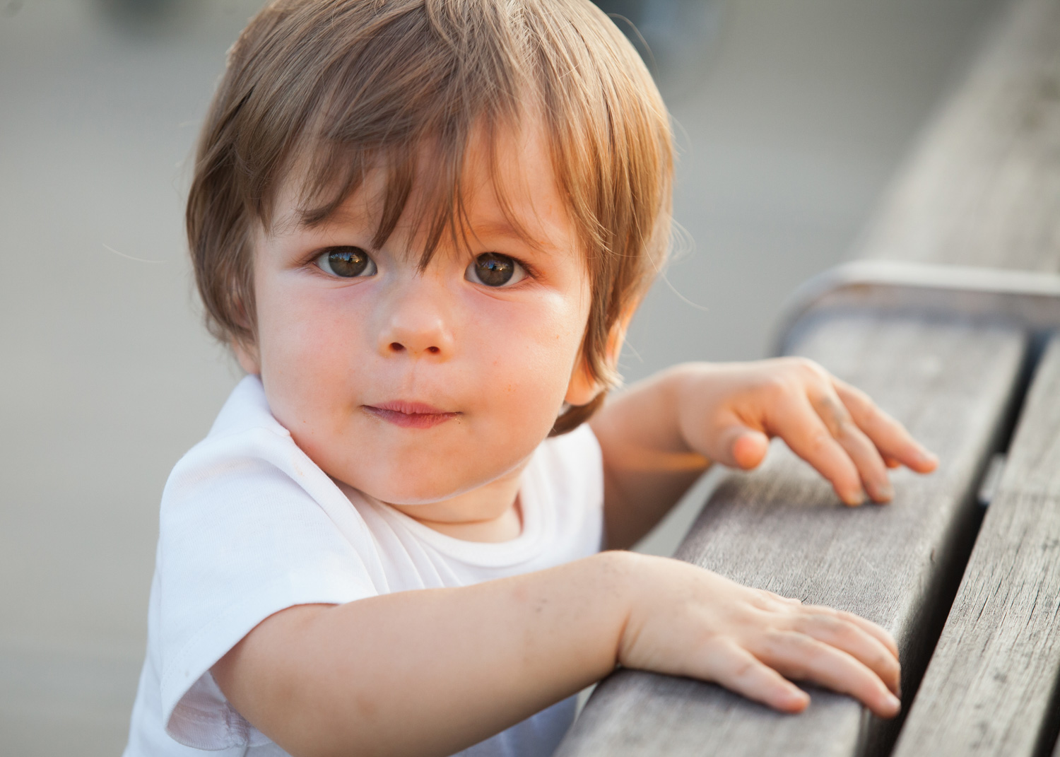 Close up photo of a 2 year old boy wearing a white shirt, leaning on a wood bench.