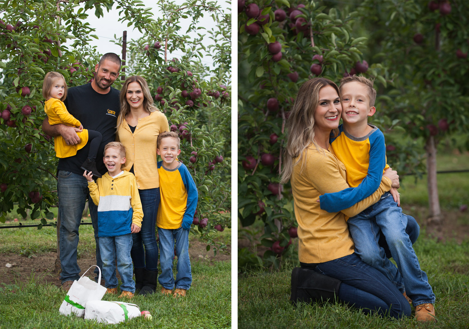 Collage of a family wearing blue & yellow laughing together in front of the apple trees at Park Hill Orchard in Easthampton.