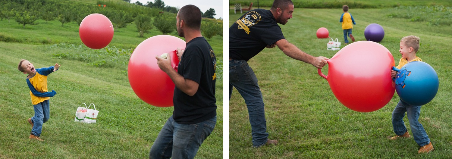 Dad and his sons throw giant bouncing balls at each other at an apple orchard.