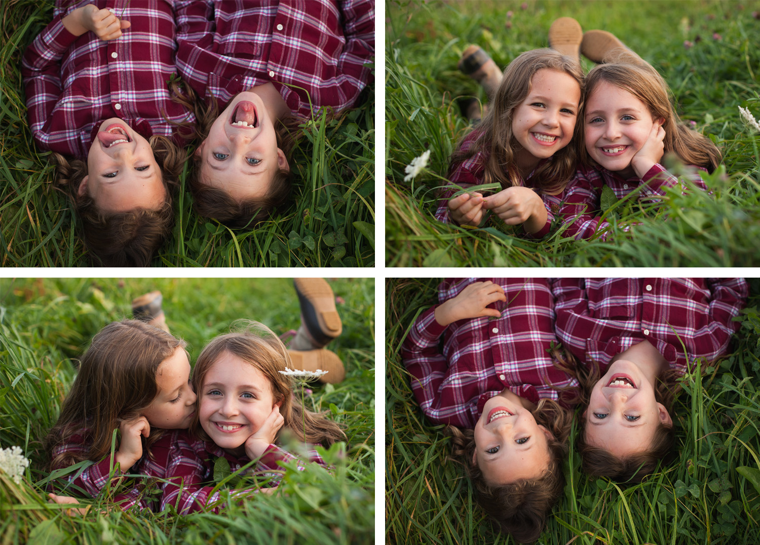 Collage of close up photos of two sisters laying in the grass, smiling and making silly faces.