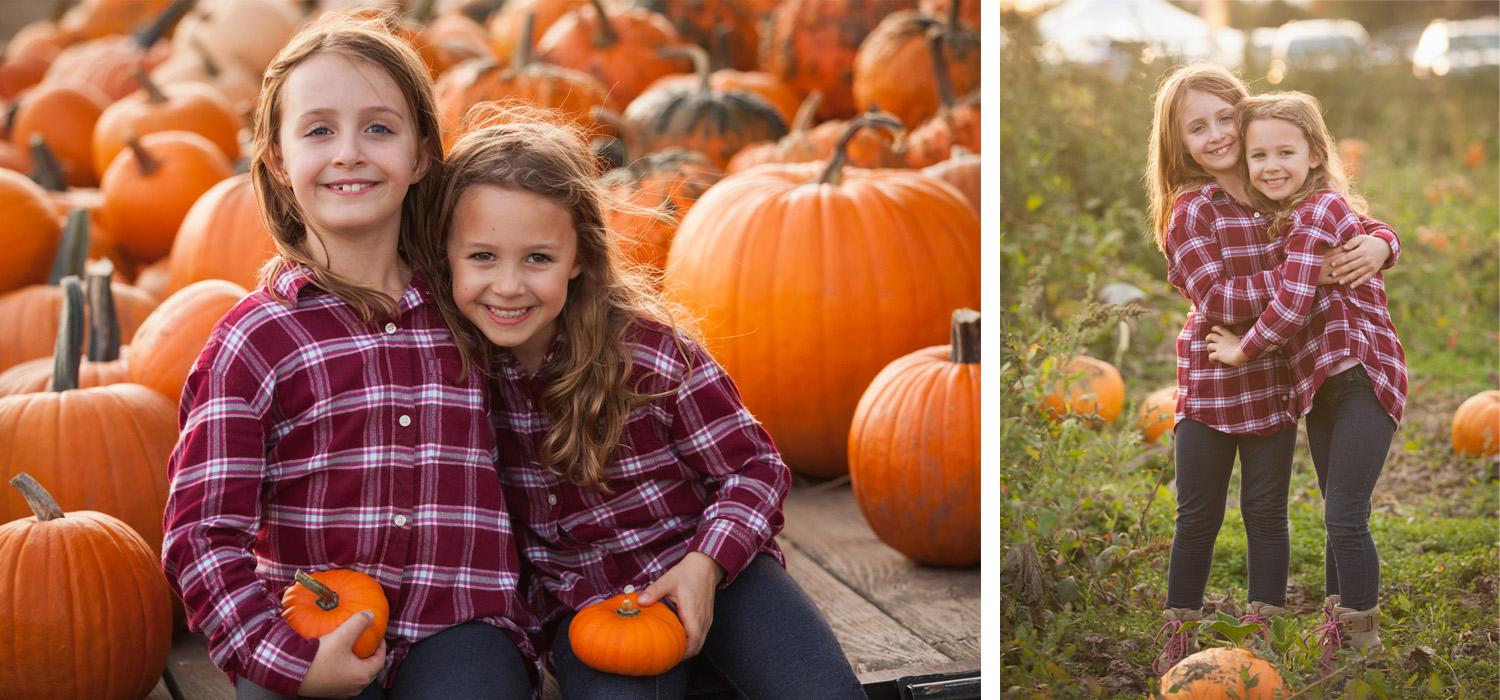 Two sisters wearing matching red flannel shirts pose for pictures in a pumpkin patch