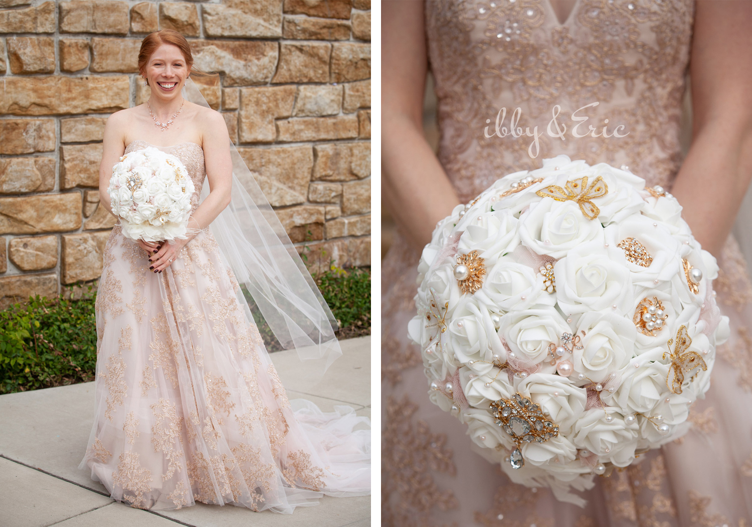 Red-headed bride wears a blush floral lace wedding gown and holds a homemade white rose and brooch bouquet.