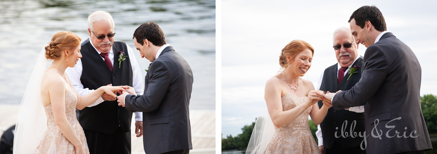 Bride and groom exchange rings during their waterfront wedding ceremony in Glastonbury.