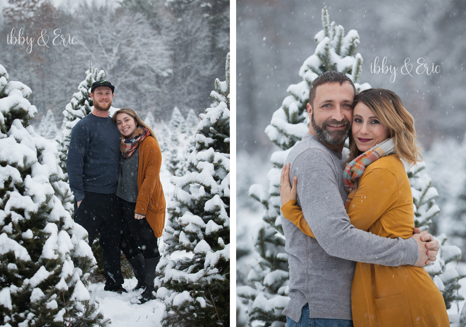 Two photos of couples wearing mustard yellow and gray hugging in front of snowy Christmas pine trees.