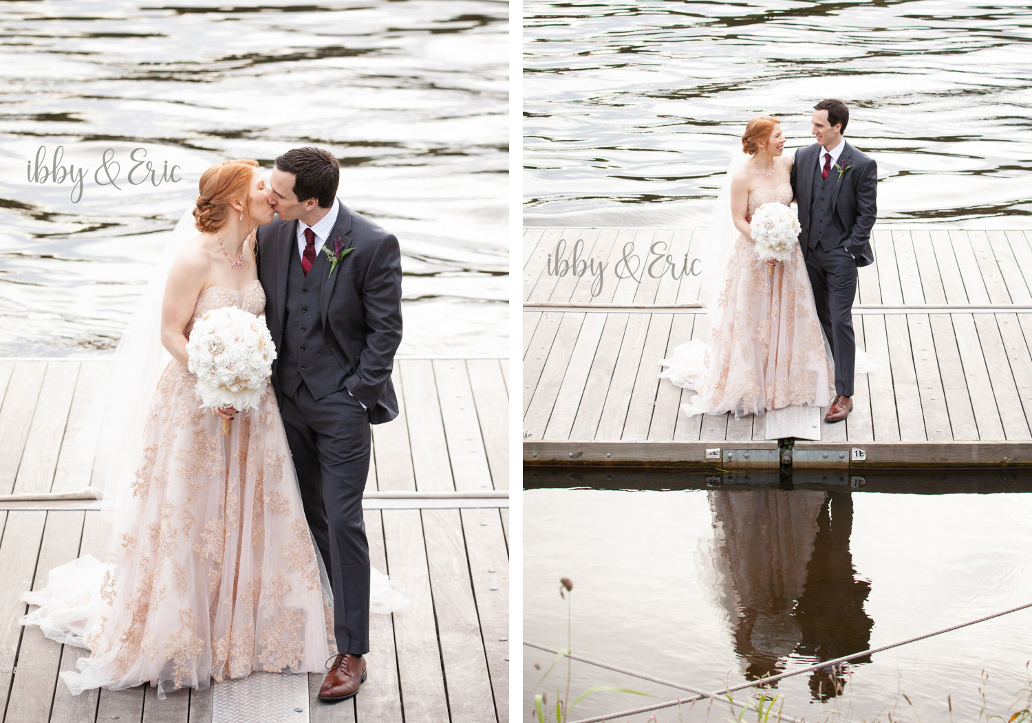Bride and groom kissing and looking at each other while standing on a dock by the river.