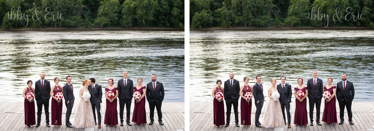 Wedding party lineup, alternating bridesmaids & groomsmen on a dock by the river.