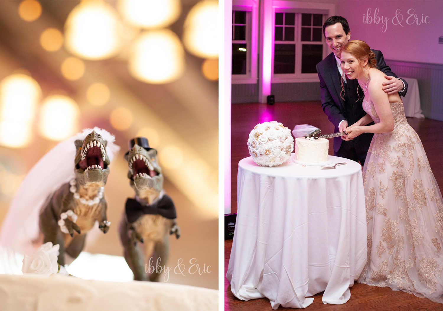 Bride & groom cut the cake, with realistic T-Rex dinosaur cake toppers
