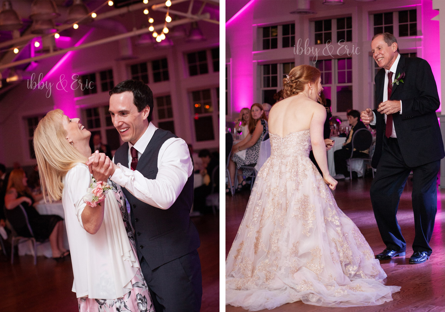 The happy bride & groom during each of their parent dances.