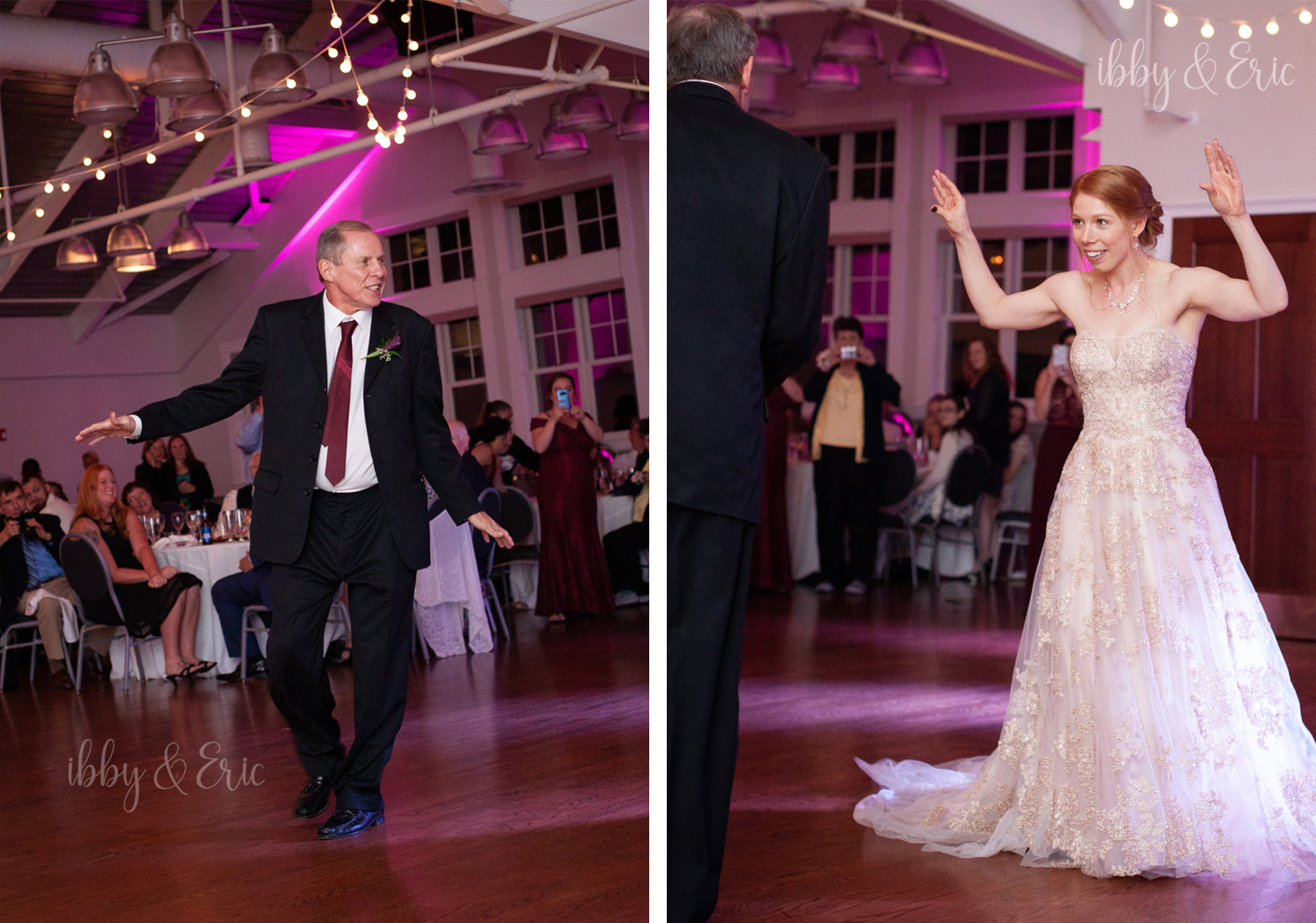 The bride & her dad does the Chicken Dance during the father-daughter dance.