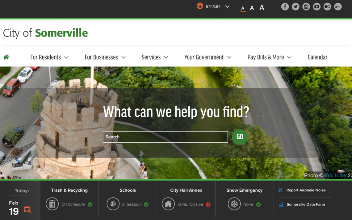 City of Somerville - As I was a resident of Somerville at the time, redesigning the city website to be constituent and task-focused brought me a great sense of pride. My favorite feature is the dashboard on the homepage, which provides a snapshot of the day.