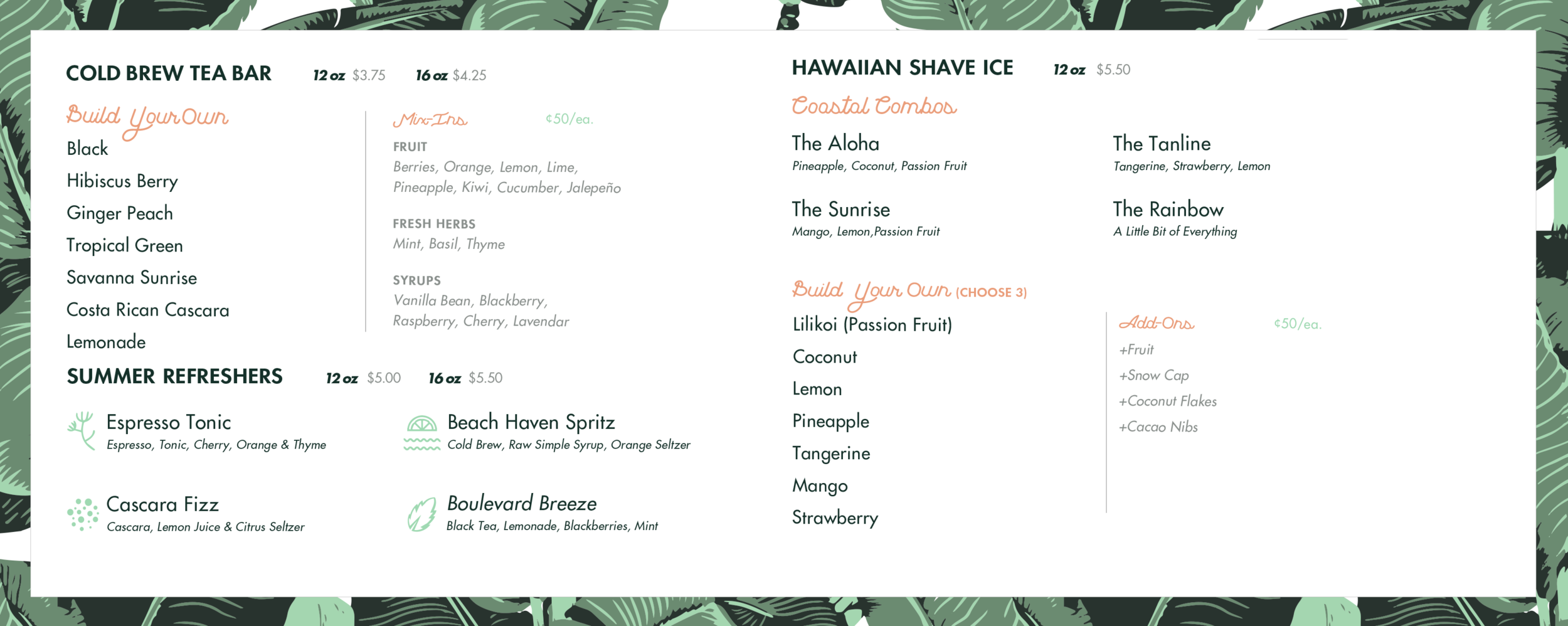 Tea & Shaved Ice Menu