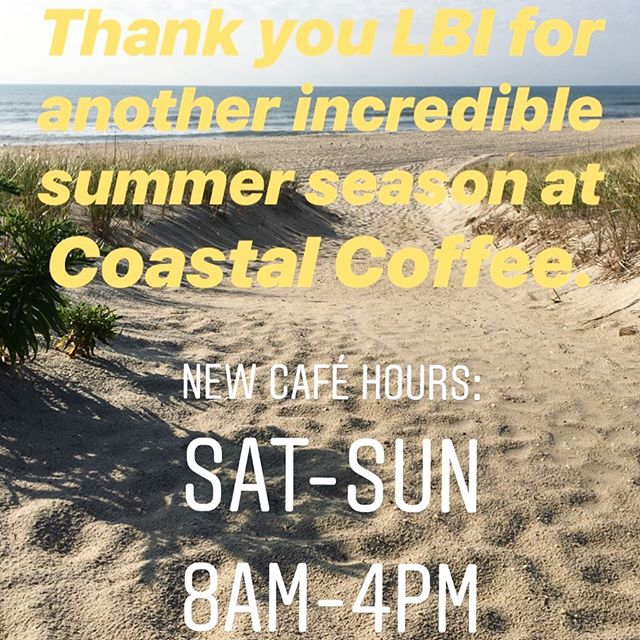 Thank you LBI and Beach Haven for another amazing summer season @coastalcoffeelbi . We are so happy that you loved our coffee, coastal bowls and avo toast so much! 😁. The café will be open weekends 8am until 4pm until October.  Hope to see you all again this weekend.  #thankyou #grateful #beachhaven #lbi #livecoastal #drinkgoodcoffee