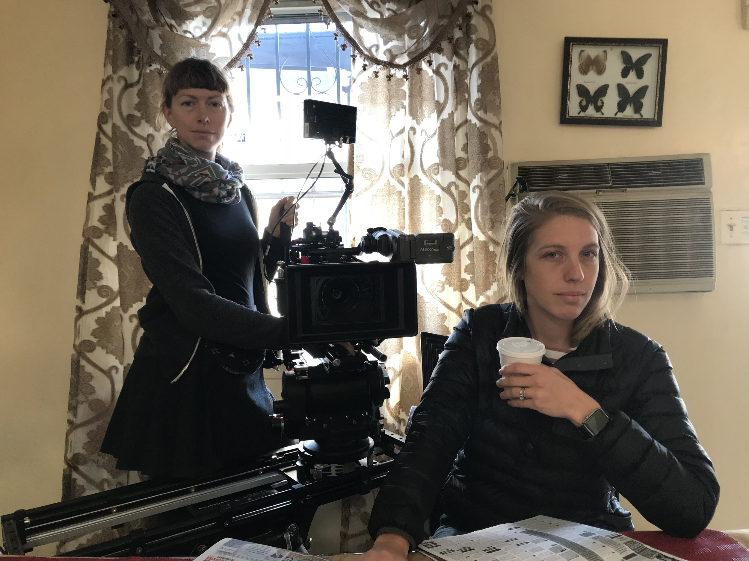 Julie Hotz is pictured on the left (Camera Operating) with Chloe Weaver (DP) on the right | Photo Courtesy of  Amanda Deery