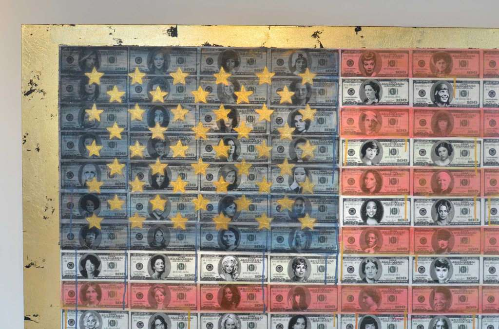 """Women and the Americana Narrative  - In Cabell Molina's mixed media exhibit, carefully selected images are transposed over contrasting cultural icons that depict the suffering behind each American golden era. Money and the 60's are of special interest to Molina, who focuses on the greater implications of power and production in her paintings. Molina hopes to voice her opinions and influence the public view, especially in regards to women's rights; """"...sometimes you feel powerless to affect change, but as an artist, you always have the power to express your views."""" Her solo show can be viewed at at the Sidewalk Gallery in Norwalk, Connecticut until July 1st."""