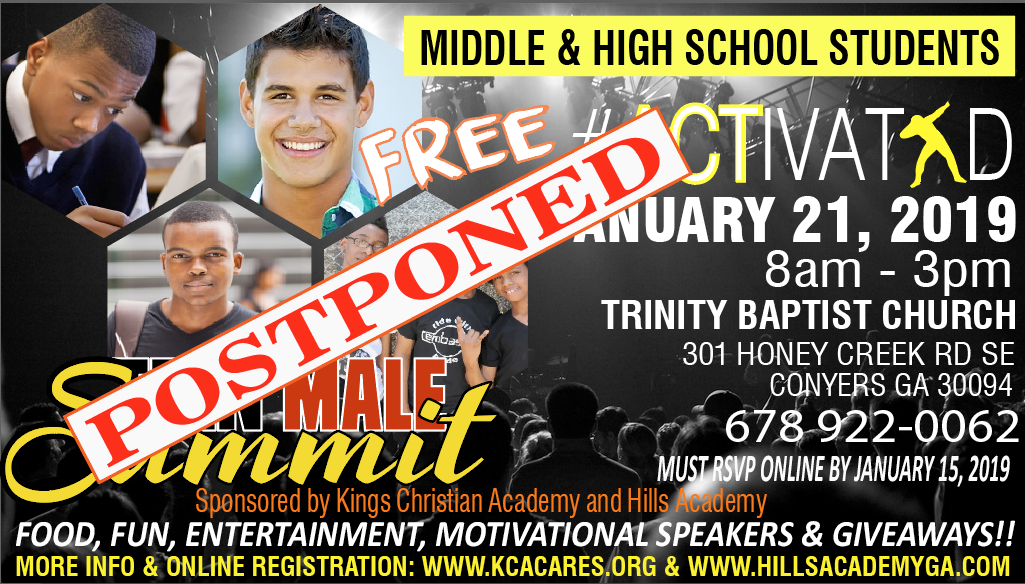 Postponed!! - All Middle and High School Male Students Welcomed!!