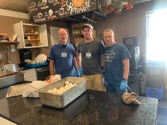 Men's ministry takes a team over to the Lighthouse Mission once a month to serve a meal together.