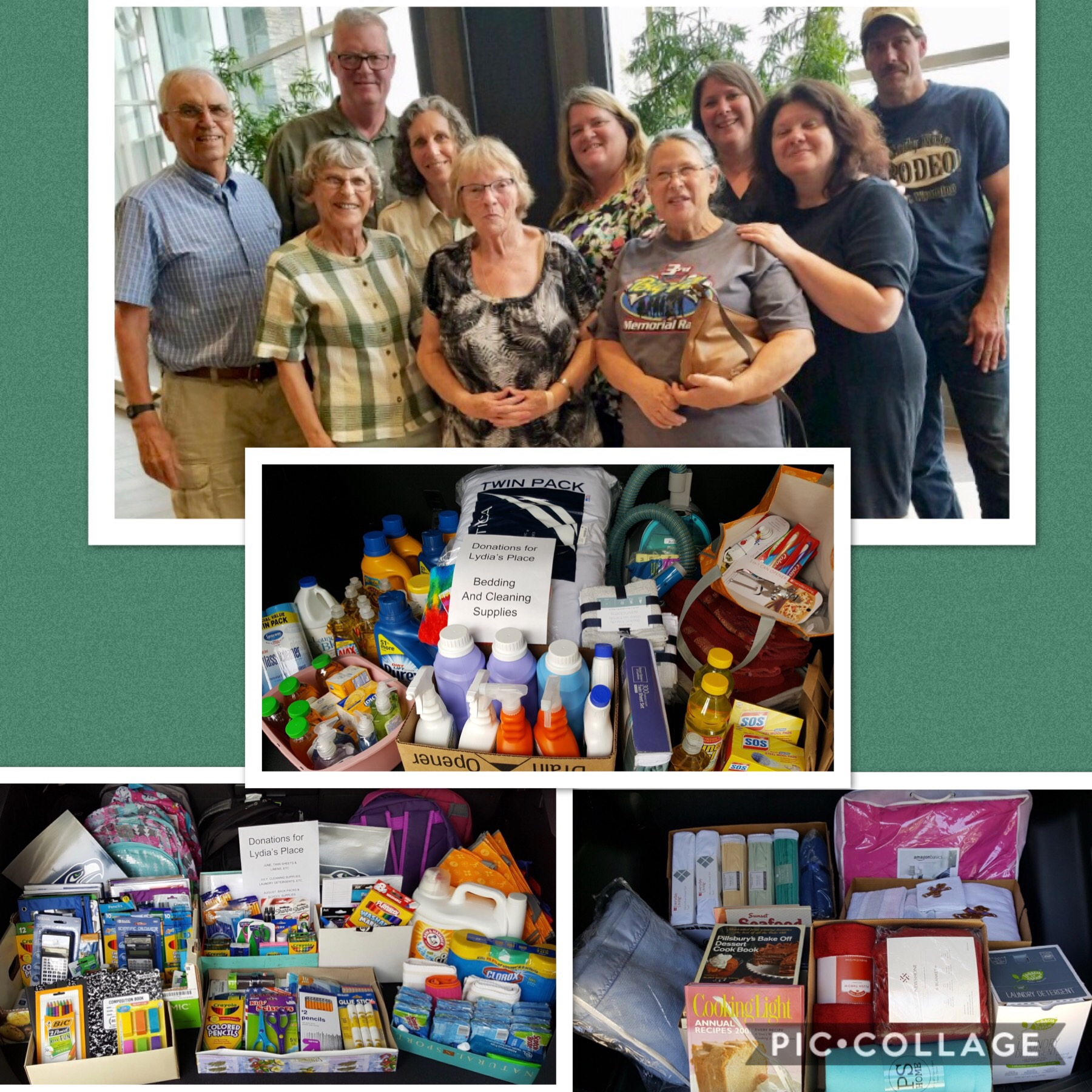 This small group gathered items requested by Lydia Place for   Family Welcome Baskets  to support families transitioning from homelessness to transitional housing.