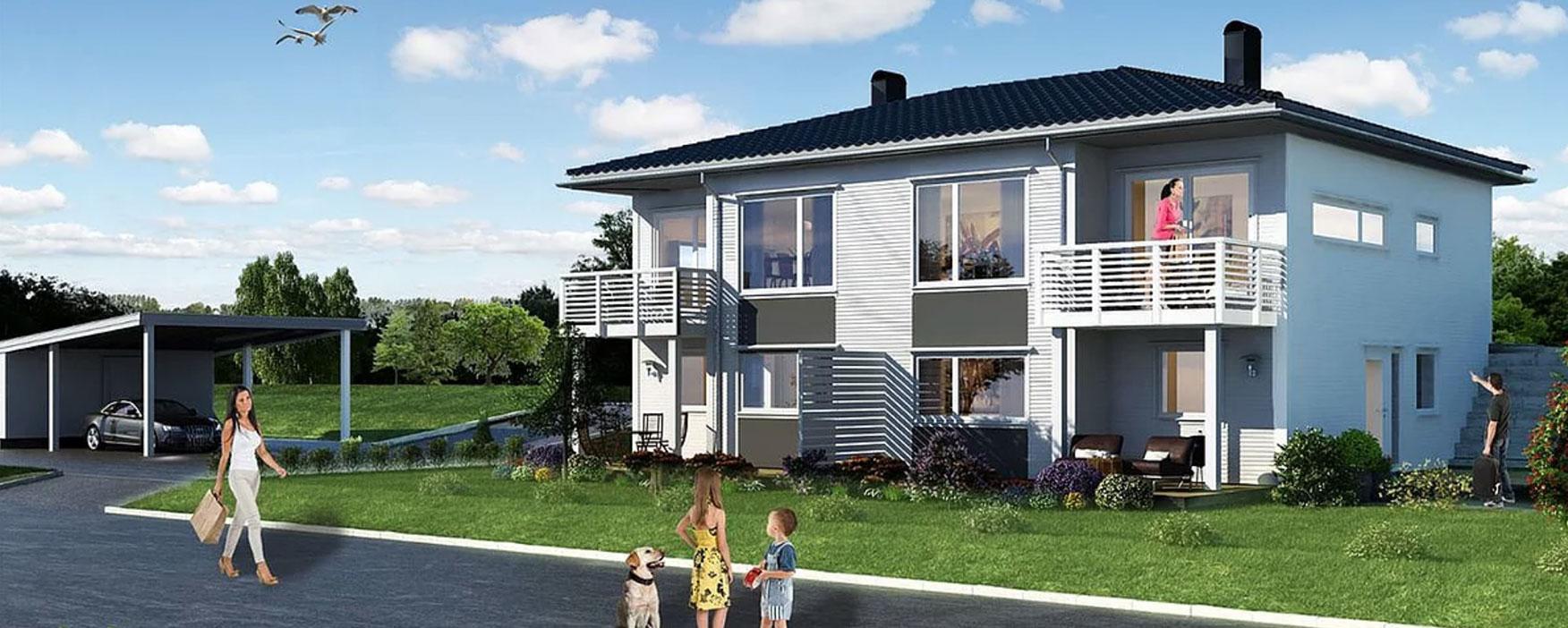 MODERNE TOMANNSBOLIG  Tomannsboligen er planlagt på byggefeltet på Hoffland som er på Ellingsøya i Ålesund kommune. Seksjonen er over to plan og har frittstående carport med sportsbod.