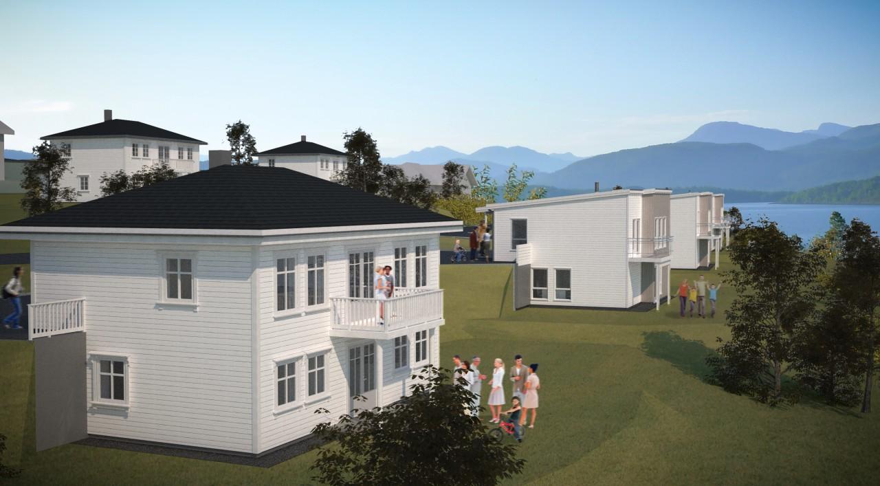 Feltet er planlagt med fem ulike boligmodeller.