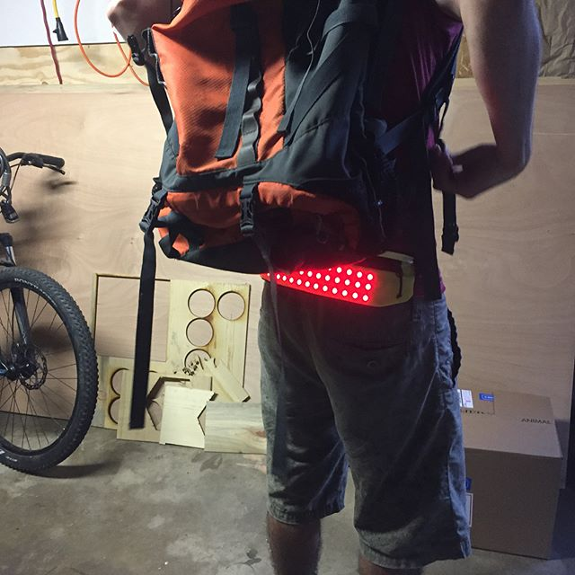 PAKLYT High-visibility LED wearable light panel with zipper storage. -  #cycling #commuting #bikecommuting #LED #wearable #tech #cycle #bike #ride #run #running #visibility #wearable #gear #safe #safety #glow #skateboard #scooter #delivery  #mailcarrier #ups #usps #fedex #construction #smallbusiness #design #ledart #awareness