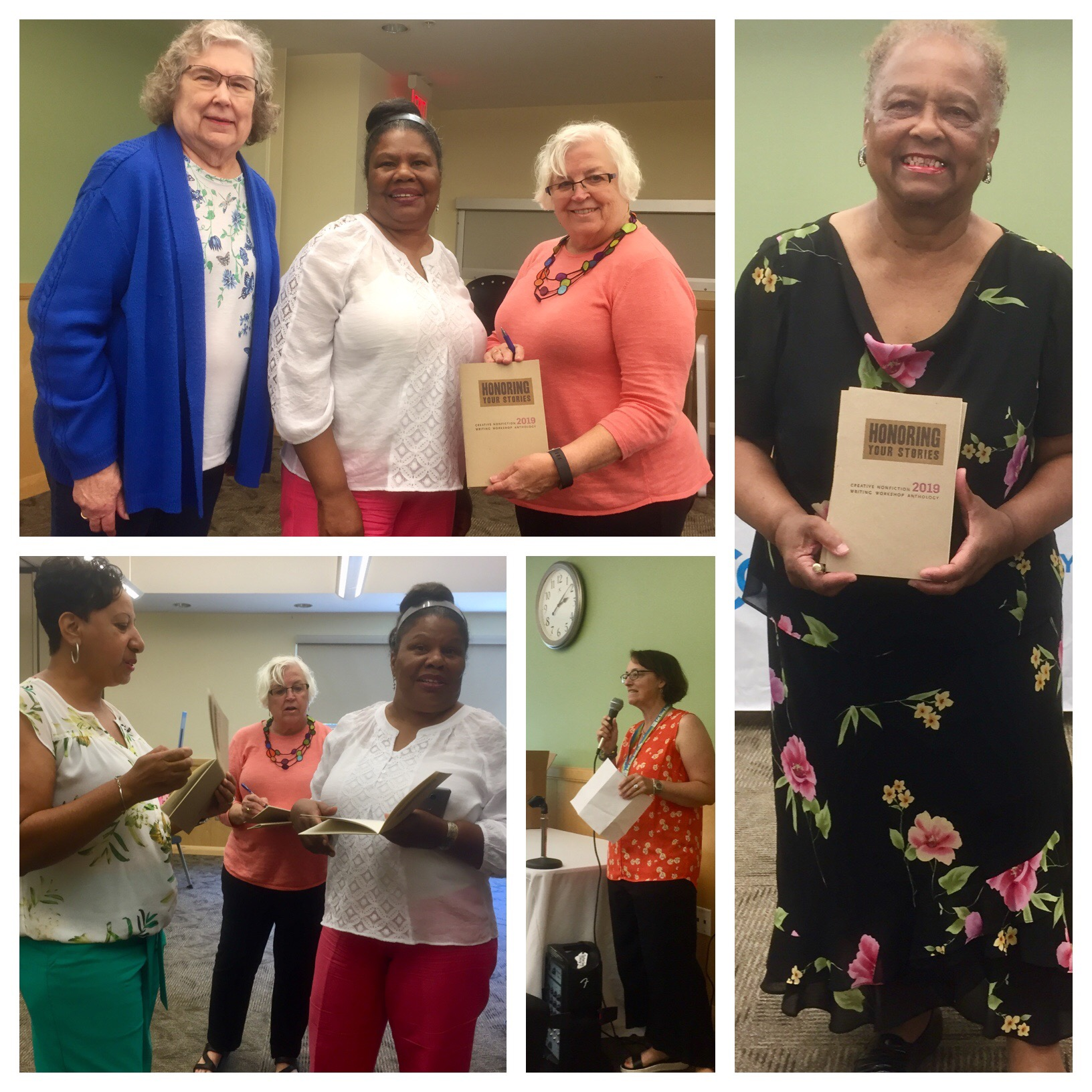 A selection of photos from the Anthology Celebration - Clockwise from top left: featured writers Marilyn Christian, Liz McGuffey and Shirley Jackson show off the book; featured writer Mary White with her copy; Humanities & Adult Program Coordinator Jennifer Levine says a few words; DCL Director Tammy Baggett gets a signed copy from writers Liz McGuffey and Shirley Jackson.