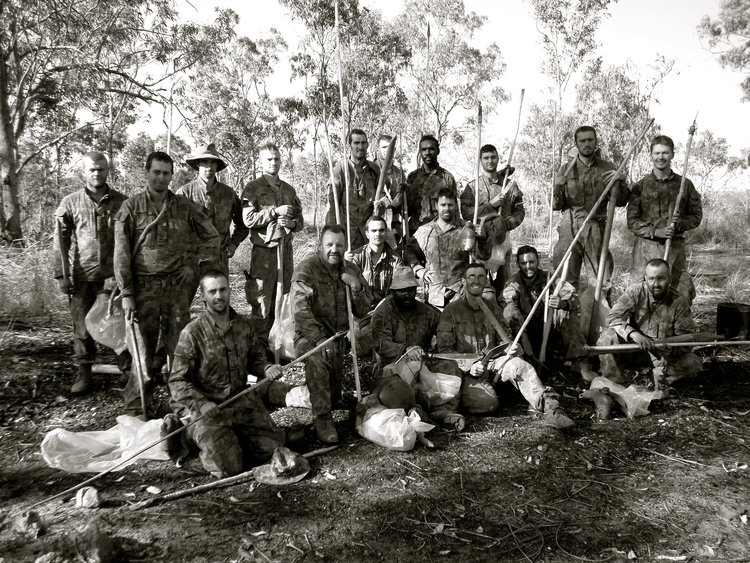 Johnathan pictured 2nd in, rear left during a survival course held in Arnhem Land, NT 2008 with the Australian Army.