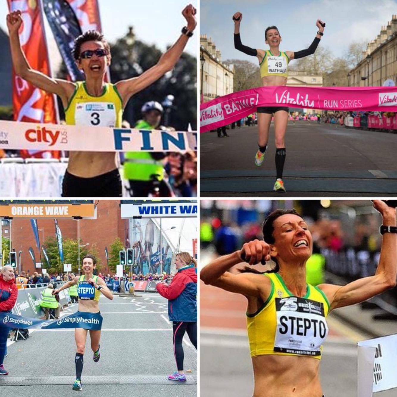 Emma winning half marathons in Plymouth, Bath and Bristol