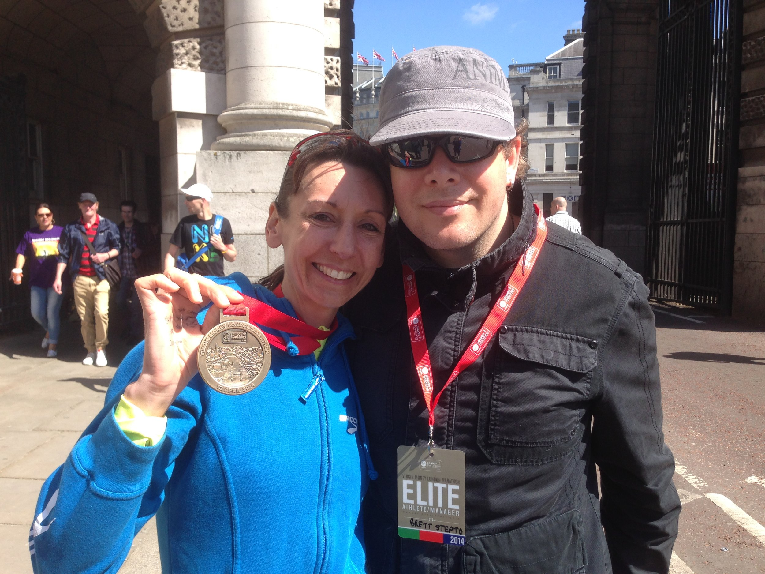 Emma and her husband Brett after the 2014 London Marathon