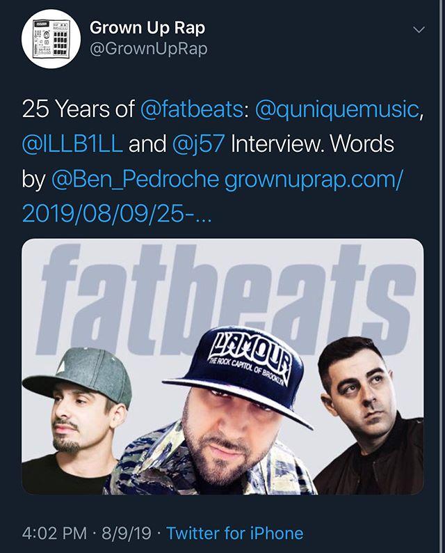 Link in bio! @illb1ll @mr_q_unique @j57music | @fatbeats | @grownuprap