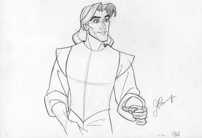 "Orig. animation drawing of Capt. John Smith from Disney's ""Pocahontas"""