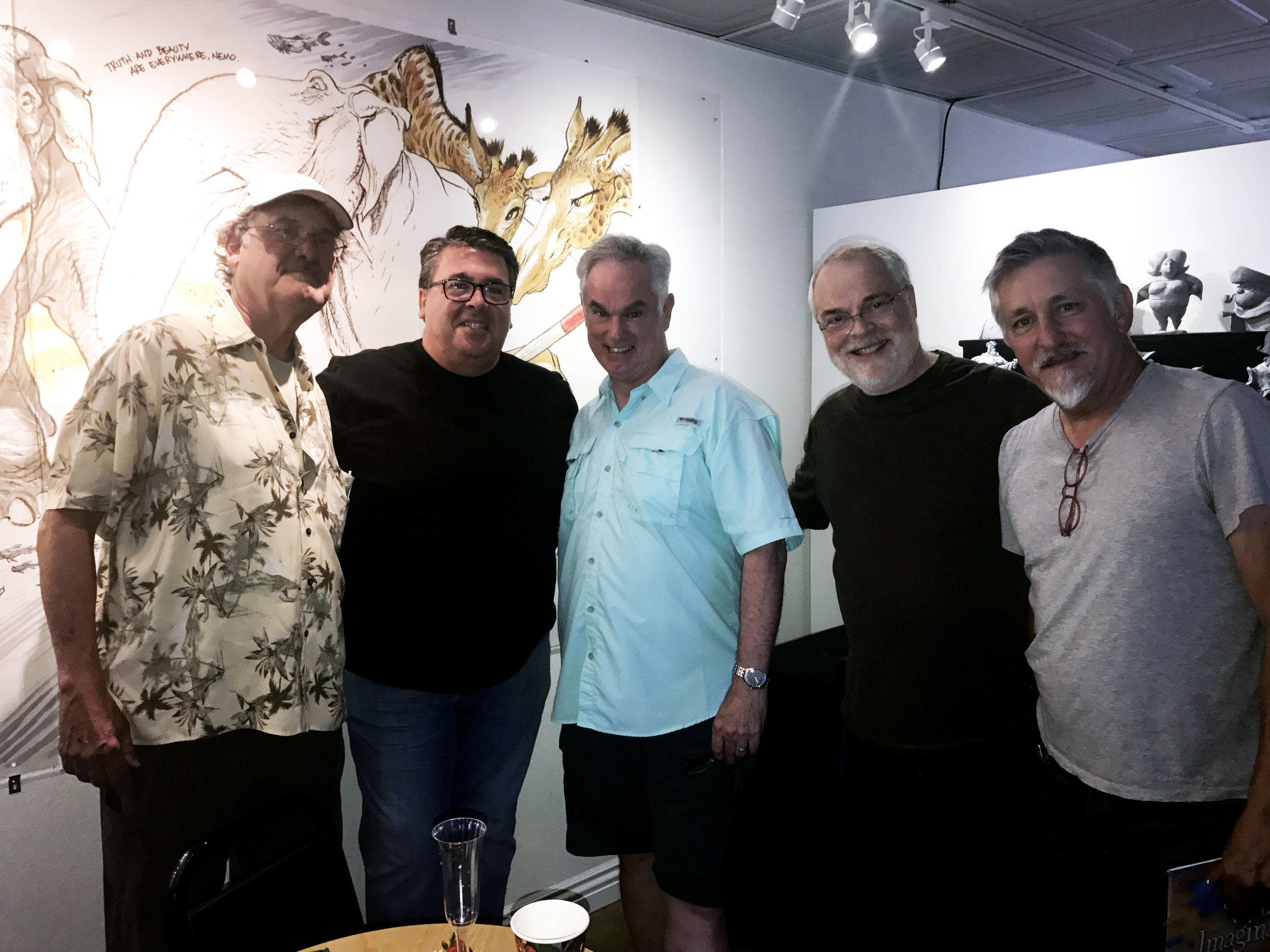 Alan Coats (Claude Coats' son), Dave Bossert, John, Ron Clements, and Dave Spafford.