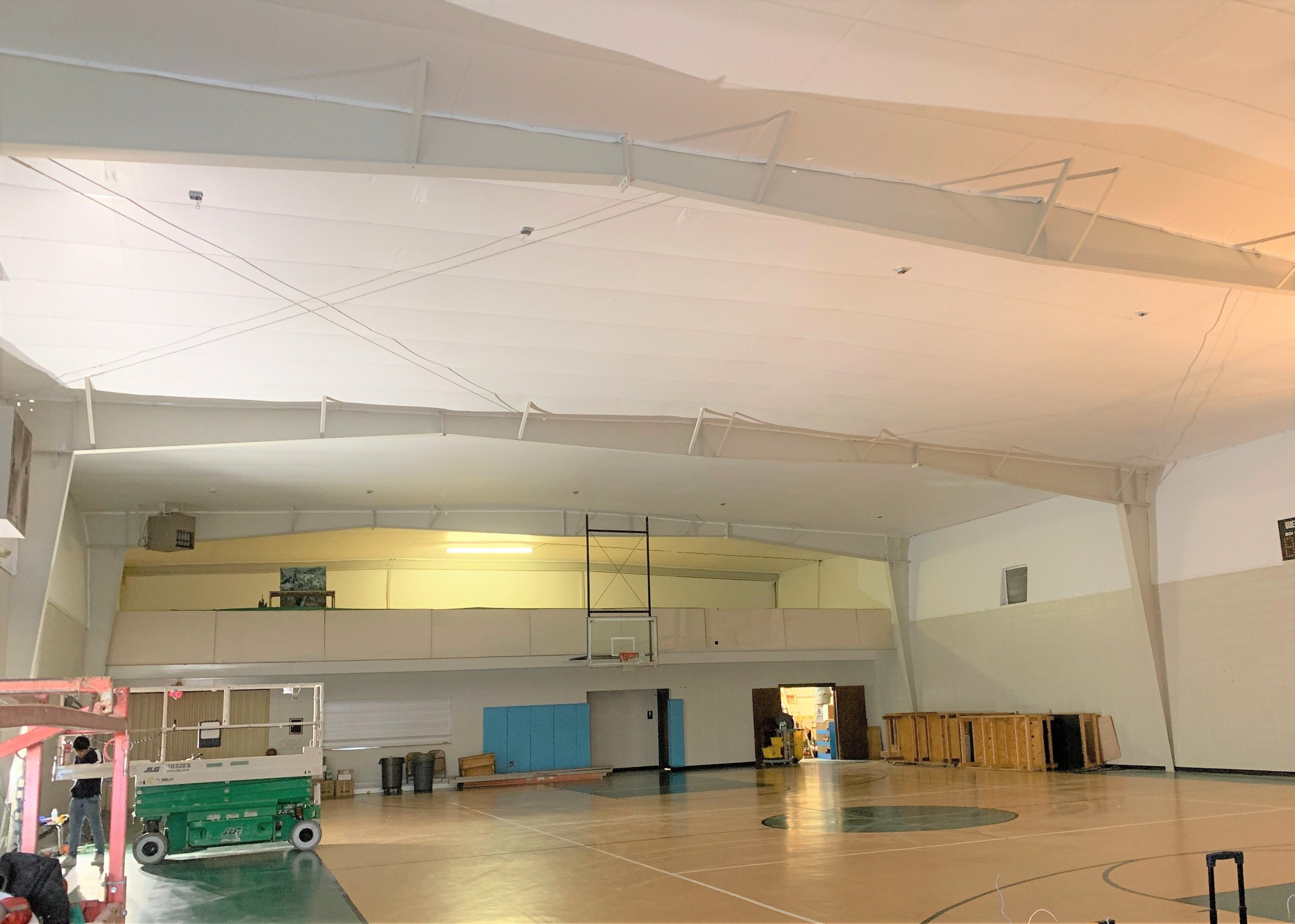 Our crew recently finished installing our reflective ceiling liner in the gymnasium area at St. Christopher's Episcopal Church in Spartanburg, S.C. Check out how gorgeous it looks even before the light fixtures are rehung! This project was a referral from a builder we had worked with on a project many years ago and we were excited to be able to assist in making this gym area aesthetically more beautiful.  Contact  us to partner with you on your unique project!