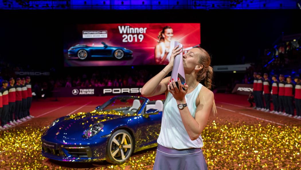 Petra Kvitova with the Championship Trophy at the Porsche Tennis Grand Prix.