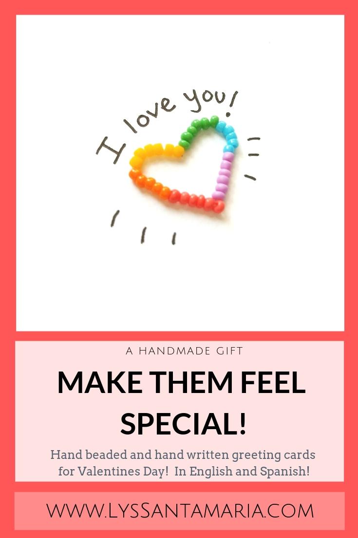 Handmade Valentines Greeting Card - I Love you - Te Amo