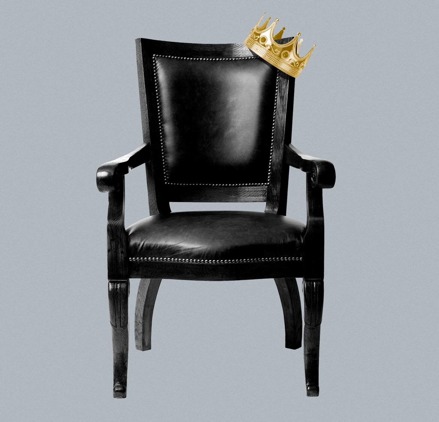 An image of a chair with a crown and a grey background added by artist Jim Cooke.